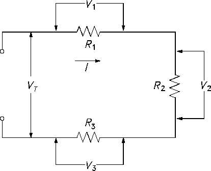 figure 19 voltage drops in a series circuit basic dc circuits tutorial basic dc circuit problems